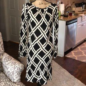 Black and cream silk dress